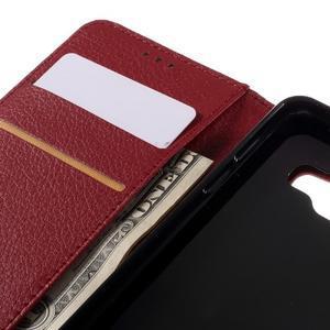 Liched koženkové pouzdro na Samsung Galaxy A3 (2016) - červené - 7