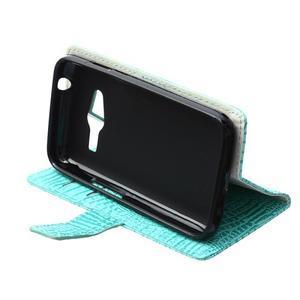 Croco peněženkové pouzdro na Samsung Galaxy Trend 2 Lite - cyan - 7