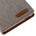 Canvas textilní/koženkové pouzdro na Sony Xperia M4 Aqua - šedé - 7/7