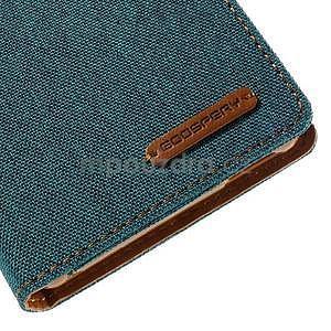 Canvas textilné / koženkové puzdro na Sony Xperia M4 Aqua - zelenomodré - 7