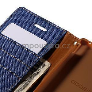 Canvas textilní/koženkové pouzdro na Sony Xperia M4 Aqua - modré - 7