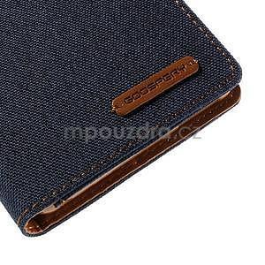 Canvas textilní/koženkové pouzdro na Sony Xperia M4 Aqua - tmavěmodré - 7