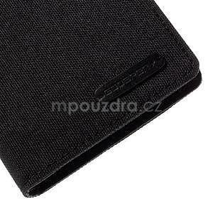 Canvas textilní/koženkové pouzdro na Sony Xperia M4 Aqua - černé - 7