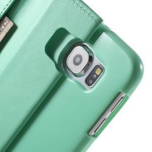 Diary PU kožené pouzdro na mobil Samsung Galaxy S6 -cyan - 7