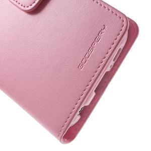 Diary PU kožené pouzdro na mobil Samsung Galaxy S6 -růžové - 7