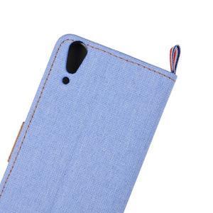 Jeans PU kožené/textilní pouzdro na mobil Lenovo A6000 - světlemodré - 7