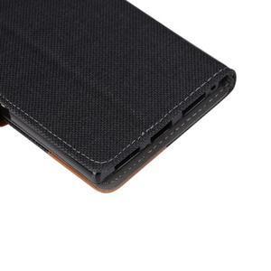 Jeans PU kožené/textilní pouzdro na mobil Lenovo P70 - černé - 7