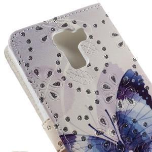 Peněženkové pouzdro s třpytivými flitry pro Huawei Honor 7 - modrý motýl - 7