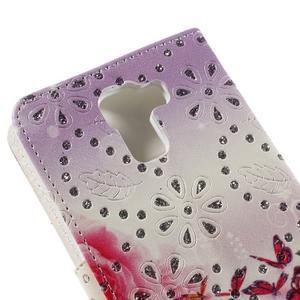 Peněženkové pouzdro s třpytivými flitry pro Huawei Honor 7 - květinoví motýlci - 7