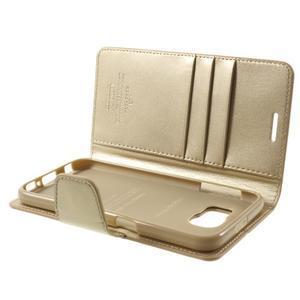 Diary PU kožené pouzdro na mobil Samsung Galaxy S6 - zlaté - 7