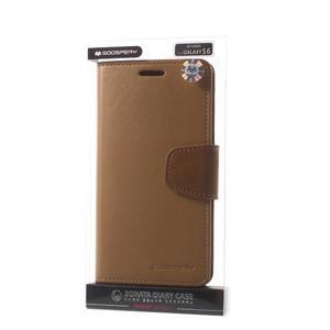 Diary PU kožené pouzdro na mobil Samsung Galaxy S6 - hnědé - 7