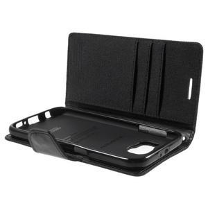 Luxury textilní/koženkové pouzdro na Samsung Galaxy S6 - černé - 7