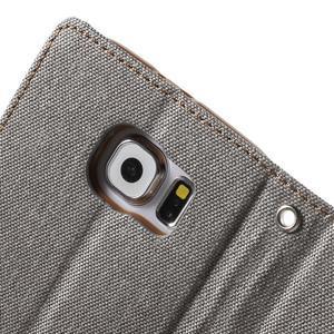 Luxury textilní/koženkové pouzdro na Samsung Galaxy S6 - šedé - 7