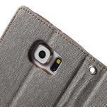 Luxury textilní/koženkové pouzdro na Samsung Galaxy S6 - šedé - 7/7