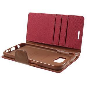 Luxury textilní/koženkové pouzdro na Samsung Galaxy S6 - červené - 7