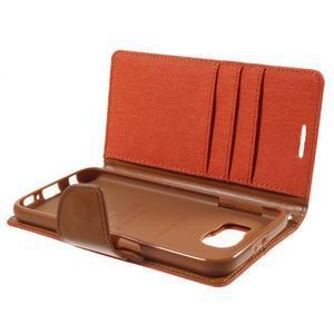 Luxury textilní/koženkové pouzdro na Samsung Galaxy S6 - oranžové - 7