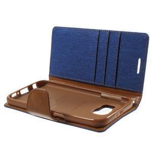 Luxury textilní/koženkové pouzdro na Samsung Galaxy S6 - modré - 7