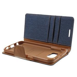 Luxury textilní/koženkové pouzdro na Samsung Galaxy S6 - jeans - 7