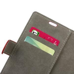Peněženkové PU kožené pouzdro na mobil Honor 7 Lite - červené - 7