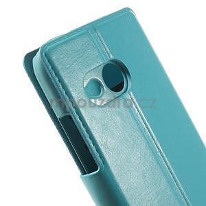 Tyrkysové peněženkové pouzdro na HTC One mini 2 - 7