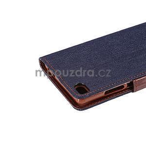 Stylové peněženkové pouzdro Jeans na Huawei Ascend P8 - černomodré - 7