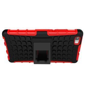 Outdoor odolný kryt 2v1 se stojánkem pro Huawei Ascend P8 Lite - červený - 7