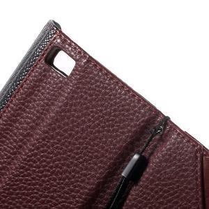 Luxusní peněženkové pouzdro na Huawei P8 Lite -  hnědé / černé - 7