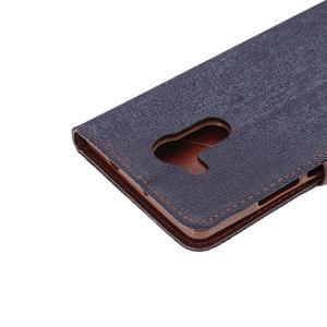 Jeans PU kožené pouzdro na mobil Huawei Mate 8 - černomodré - 7