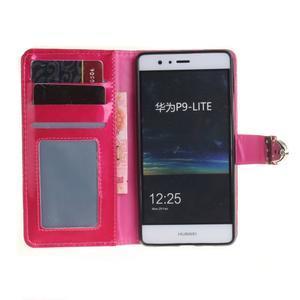 Luxury PU kožené peněženkové pouzdro na Huawei P9 Lite - rose - 7