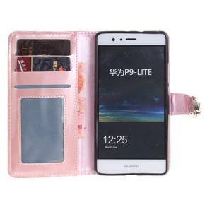 Luxury PU kožené peněženkové pouzdro na Huawei P9 Lite - růžové - 7