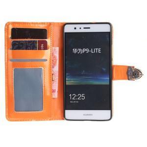 Luxury PU kožené peněženkové pouzdro na Huawei P9 Lite - oranžové - 7