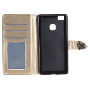 Luxury PU kožené peněženkové pouzdro na Huawei P9 Lite - zlaté - 7