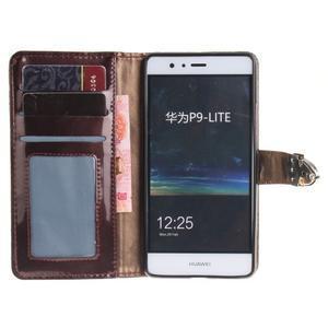 Luxury PU kožené peněženkové pouzdro na Huawei P9 Lite - coffee - 7