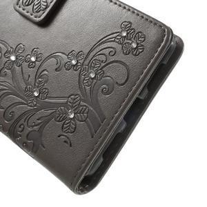 Cloverleaf peněženkové pouzdro s kamínky na Huawei P9 Lite - šedé - 7