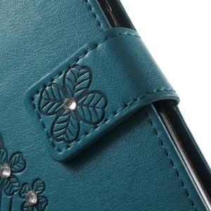 Cloverleaf peněženkové pouzdro s kamínky na Huawei P9 Lite - modré - 7