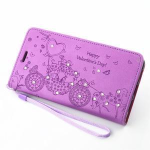 Loves PU kožené pouzdro s kamínky na Huawei P9 Lite - fialové - 7