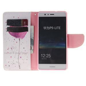Lethy knížkové pouzdro na telefon Huawei P9 Lite - kvítek - 7