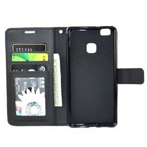 Víla PU kožené pouzdro s kamínky na Huawei P9 Lite - černé - 7