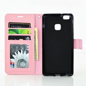 Víla PU kožené pouzdro s kamínky na Huawei P9 Lite - růžové - 7