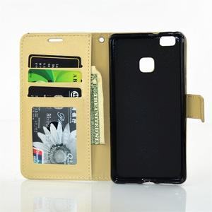 Víla PU kožené pouzdro s kamínky na Huawei P9 Lite - žluté - 7
