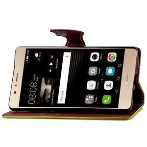 Leaf PU kožené pouzdro na Huawei P9 Lite - zelené - 7