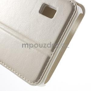 Bílé PU kožené pouzdro na Huawei Y635 - 7