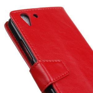 Knížkové PU kožené pouzdro na Lenovo Vibe K5 / K5 Plus - červené - 7