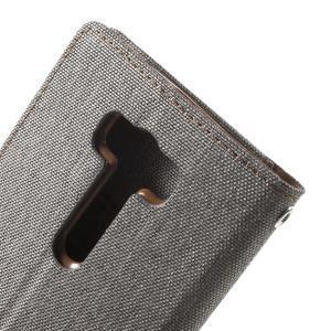 Canvas textilní/PU kožené pouzdro na Asus Zenfone 2 Laser - šedé - 7
