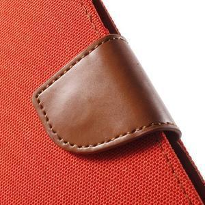 Canvas textilní/PU kožené pouzdro na Asus Zenfone 2 Laser - oranžové - 7