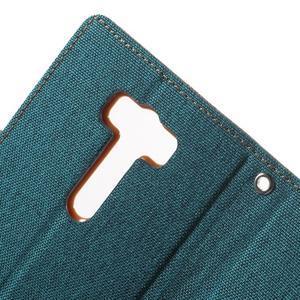 Canvas textilní/PU kožené pouzdro na Asus Zenfone 2 Laser - zelenomodré - 7