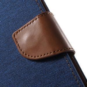 Canvas textilní/PU kožené pouzdro na Asus Zenfone 2 Laser - modré - 7