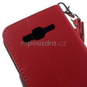 Červené/hnědé peněženkové pouzdro na Samsung Galaxy Core Prime - 7