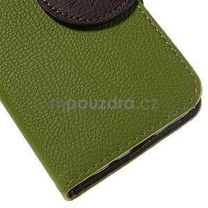 Zelené/hnědé peněženkové pouzdro na Samsung Galaxy Core Prime - 7