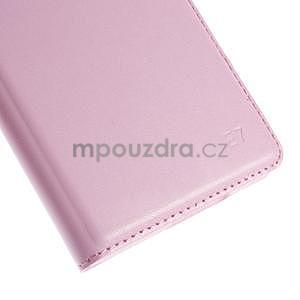 PU kožené pěněženkové pouzdro s okýnkem Samsung Galaxy E5 - růžové - 7